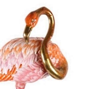 Flamingo aus Bronze und Porzellan – 81 cm hoch