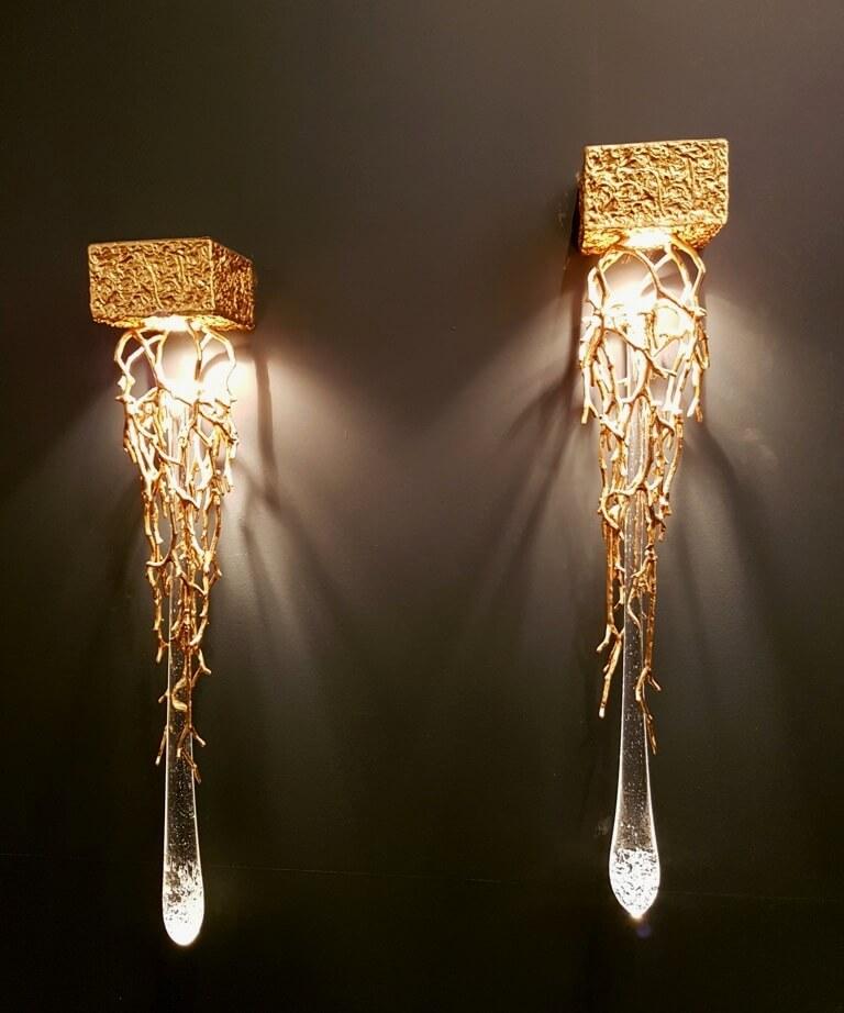 Wandleuchte – Kunstguss in Bronze mit Kristallglas